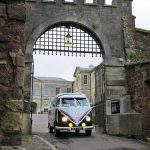 vw black betty wedding campervan exeter castle