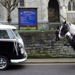 vw black betty wedding campervan beer devon