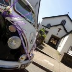 vw black betty wedding campervan totnes devon