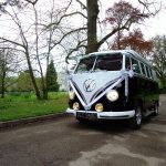 vw black betty wedding campervan at the deer park country house honiton