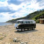 vw black betty wedding campervan lyme regis