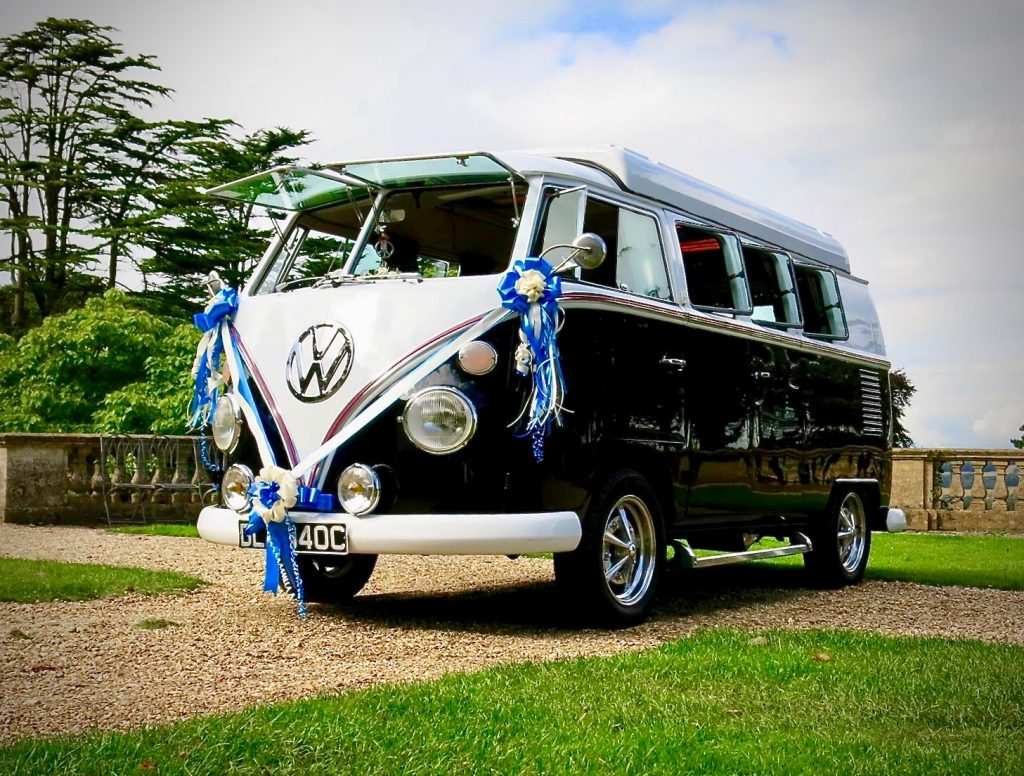 vw black betty wedding campervan car Devon