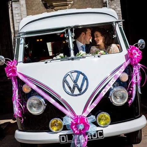 vw black betty wedding campervan powderham castle