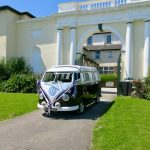 vw black betty wedding campervan the lord haldon hotel exeter