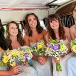 vw black betty wedding campervan bide & bridesmaids Haselbury mill somerset
