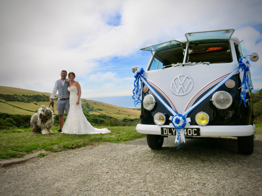 vw black betty wedding campervan barnstaple